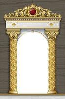 Golden classic arch portal and columns vector