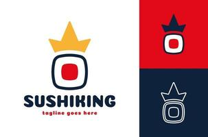 Crown sushi logo. vector Japanese seafood restaurant symbol of fresh royal sushi or roll with king crown