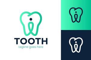 logotipo de pin de diente. tendencia logotipo moderno o emblema de diseño gráfico. concepto de mapeo del buscador de direcciones y localización de la clínica de odontología. pin de ubicación. icono de ubicación vector