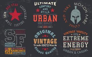 Impresión de diseño vintage para sellos de camisetas, apliques de camisetas, tipografía de moda, insignias, etiquetas de ropa, jeans y ropa casual. ilustración vectorial vector