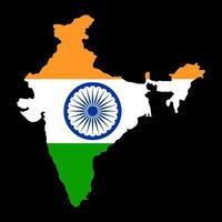 Map of India with flag. vector illustration of India map with flag