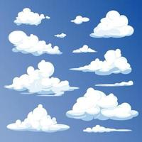 Cartoon clouds isolated on blue sky panorama vector collection. Cloudscape in blue sky, white cloud vector illustration