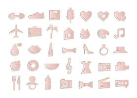 Cute fashion rose gold icon set. vector