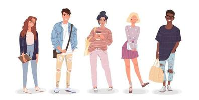 Group of students. Young people. Vector illustration.