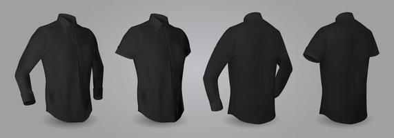 Camisa masculina negra con mangas largas y cortas y botones en la vista frontal, posterior y lateral, aislada sobre fondo gris. 3d ilustración vectorial realista, patrón de camisa formal o informal vector