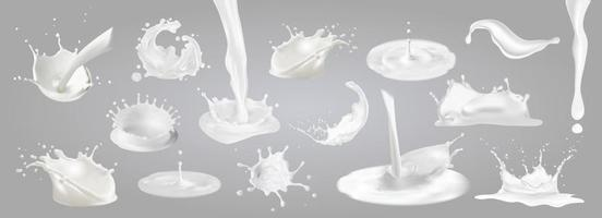 Milk splashes, drops and blots. vector