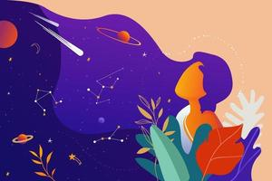 Woman with flowers and leaves dreaming of space with planets and stars. Vector illustration.