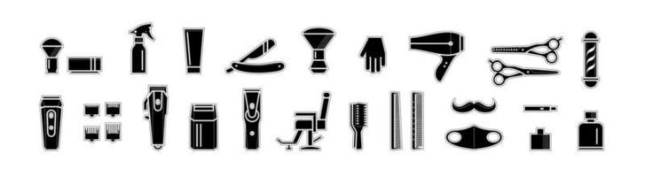 conjunto de iconos de peluquero vector