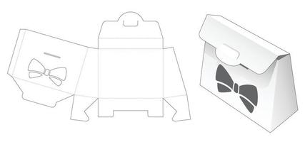 Purse box with bow stencil die cut template vector