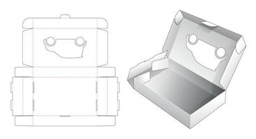 Folding flip packaging box with car shaped window die cut template vector