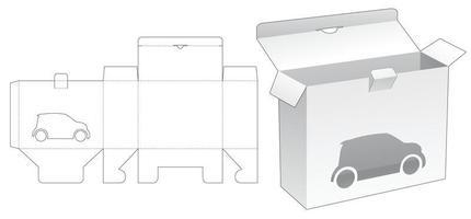 Locked point box with car cartoon window die cut template vector