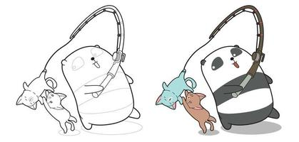 Panda is fishing naughty cat cartoon coloring page vector