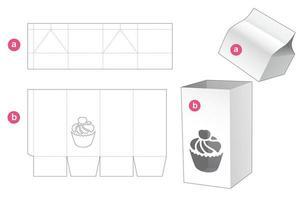 caja alta con ventana en forma de taza de pastel y plantilla troquelada de tapa vector