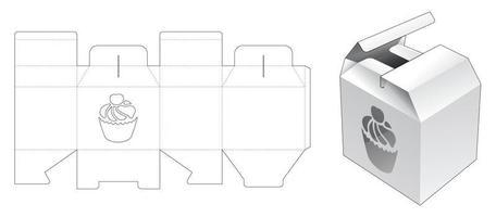 caja de apertura media con plantilla troquelada de ventana en forma de pastel de taza vector