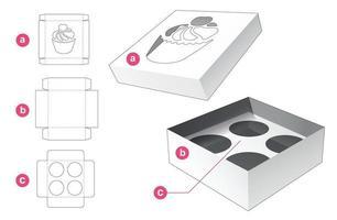 caja de pastel de taza con tapa y plantilla troquelada de soporte de inserción vector