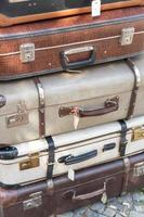 Stack of old suitcases photo