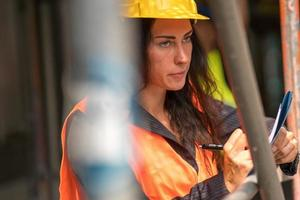 Female construction worker photo