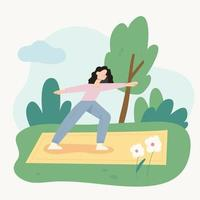 A woman is doing yoga on a mat in the park. flat design style minimal vector illustration.