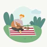 A man is sitting on a blanket in the park and playing the guitar. flat design style minimal vector illustration.