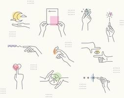 Emotional mood hand gestures. Line drawing icons and soft colors. Simple pattern design template. vector