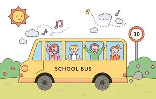 The children are having fun riding the yellow school bus vector