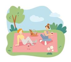 Two girls are having a picnic in the park vector