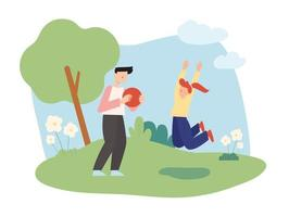 Dad and daughter are having fun playing ball in the park vector