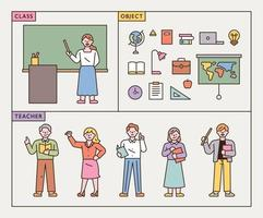 Teachers in class characters and school supplies icons vector