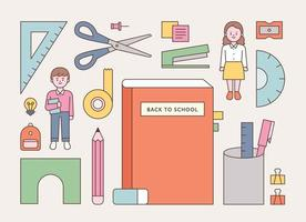 School supplies and student characters vector