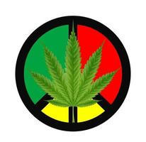 hoja de marihuana en un signo de paz rojo, verde y amarillo vector