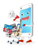 smartphone cartoon with megaphone and shopping cart vector