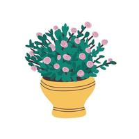 A beautiful pink rose grows in a pot. Indoor plant with green leaves in a yellow pot.Potted plant rose isolated on a white background.Flat vector illustration. Vector illustration