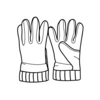 Hiking gloves isolated on a white background.Doodle-style vector illustration. Hand drawn gloves