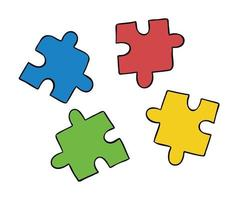 Cartoon vector illustration of compatible 4 puzzle pieces in different colors.