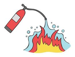 Cartoon vector illustration of fire extinguisher and fire extinguishing.