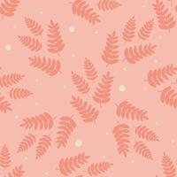 Scandinavian pattern.A pattern of leaves, branches, and twigs in warm orange colors. Hand drawn vector flat illustration Design for textiles, packaging, wrappers