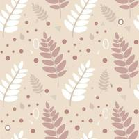 Scandinavian pattern.A pattern of leaves, branches, and twigs in warm beige colors. Hand drawn vector flat illustration