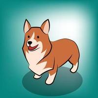 Ilustración de vector de dibujos animados lindo de un perro corgi