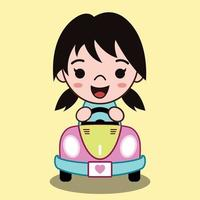 Cute Cartoon Vector Illustration Of a girl driving a convertible car She is smiling happily