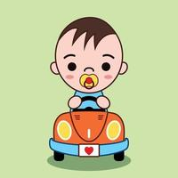 Cute Cartoon Vector Illustration Of a baby driving a convertible car He is smiling happily