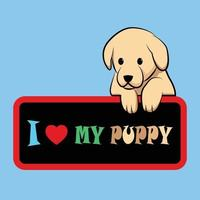 Vector illustration of a cute puppy is holding a board