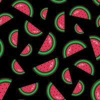 seamless pattern of watermelon slices on a black background. Watermelon pattern.Colorful summer fruit pattern. Vector illustration. Flat style