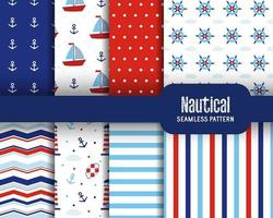 Set of sea seamless patterns with boat anchor wave lighthouse lifebuoy polka dots and stripes Nautical design Marine elements Vector illustration Geometric textures for fabric card baby shower scrapbook etc