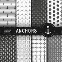 Set of 8 vector seamless geometric pattern with anchors Nautical background in minimalist style Vintage maritime backdrop for texture card textile paper Vector illustration