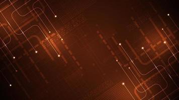 Diseño de circuito electrónico diagonal sobre fondo naranja oscuro vector