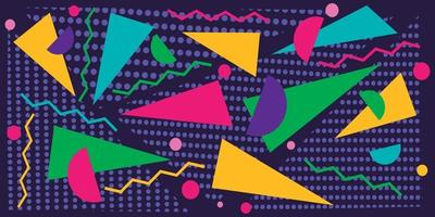 Colorful triangles over dotted triangles background vector
