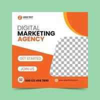 Orange  Social Media Post Design Template vector