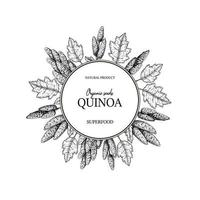 Hand drawn quinoa frame. Vector illustration in sketch style.
