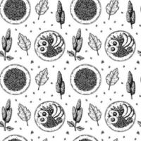 Hand drawn seamless pattern with quinoa bowls. Vector illustration in sketch style