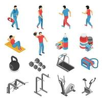 Fitness Health Isometric Icons Set Vector Illustration